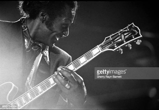 Singer songwriter and guitarist Chuck Berry performs at the Los Angeles Coliseum on November 25 1972 in Los Angeles California