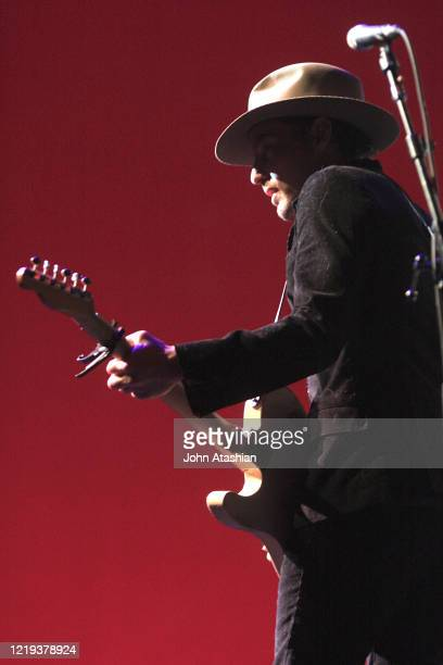 Singer songwriter and guitarist Jakob Dylan is shown performing on stage during a live concert appearance with The Wallflowers on April 24 2008