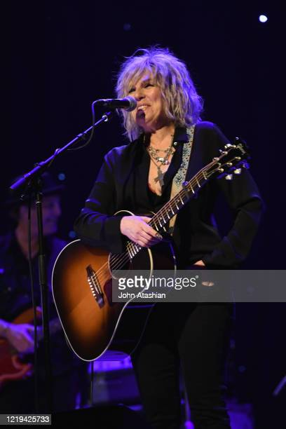 Singer songwriter and guitarist Lucinda Williams is shown performing on stage during a live concert appearance on August 16 2017
