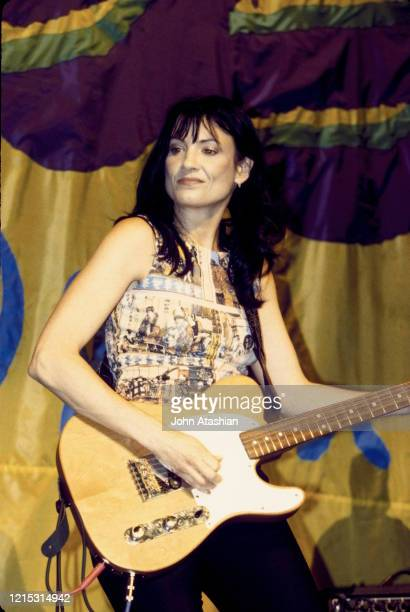 Singer songwriter and guitarist Meredith Brooks is shown performing on stage during a live concert appearance on May 30 1998