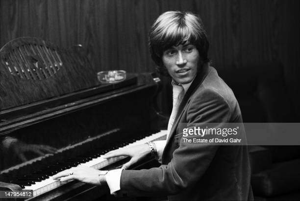 Singer songwriter and member of the musical trio the Bee Gees Barry Gibb plays the piano in a recording studio in London England in July 1969