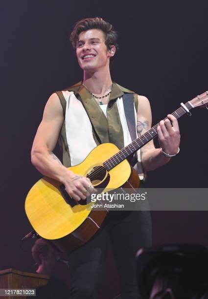 Singer, songwriter and model Shawn Mendes is shown performing on stage during a live concert appearance on August 30, 1989.