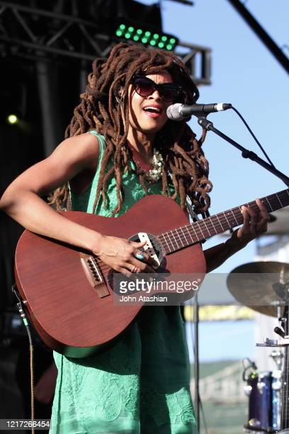 """Singer, songwriter and multi-instrumentalist Valerie June is shown performing on stage during a """"live"""" concert appearance on June 7, 2014. """"n""""n"""