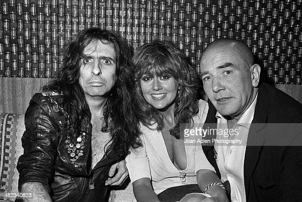 Singer songwriter and musician Alice Cooper with Actor Albert Finney chatting backstage at Cooper's 'Special Forces Tour' at the Greek Theatre on...