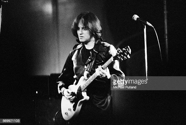 Singer songwriter and musician Eric Stewart performing with English rock band 10cc February 1976