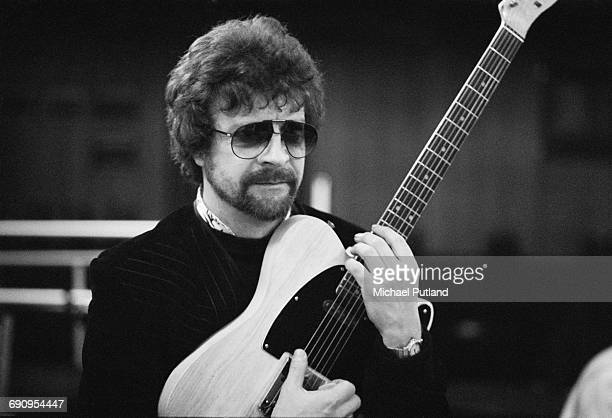Singer songwriter and musician Jeff Lynne of English rock group The Electric Light Orchestra in a recording studio February 1985