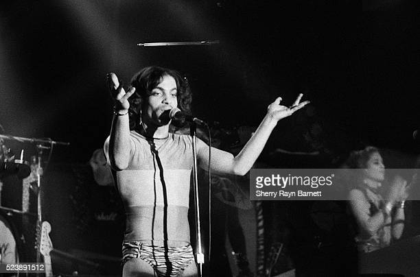 Singer songwriter and musician Prince performs at the Roxy Theatre on November 26 1979 in Los Angeles California