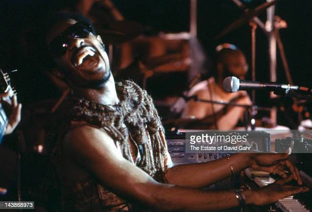 Singer songwriter and musician Stevie Wonder performs on the program 'Soul Session at Newport' on July 3 1973 at the Newport Jazz Festival New York...