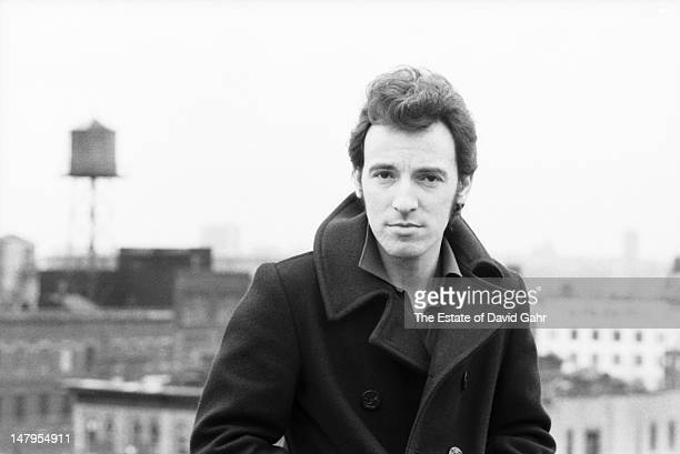 Singer songwriter and performer Bruce Springsteen poses for a portrait on the roof of the Power Station recording studios during sessions for...