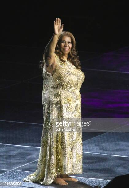 Singer, songwriter and pianist Aretha Franklin is shown performing on stage during a live concert appearance on January 1, 2016.