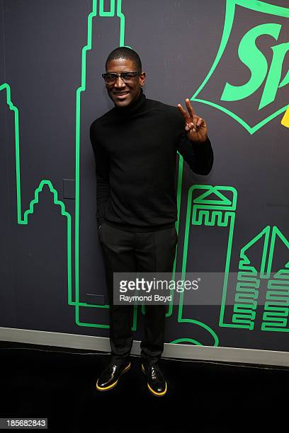 Singer songwriter and producer Labrinth poses for photos in the KISSFM Sprite Lounge in Chicago Illinois on OCTOBER 18 2013