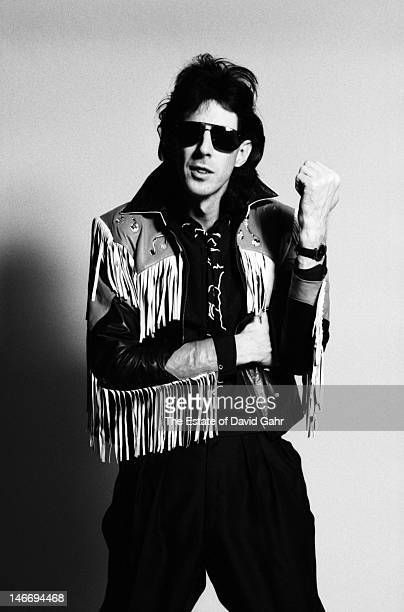 Singer, songwriter and producer Ric Ocasek of the rock group The Cars poses for a portrait in March 1980 during a recording session in Boston,...