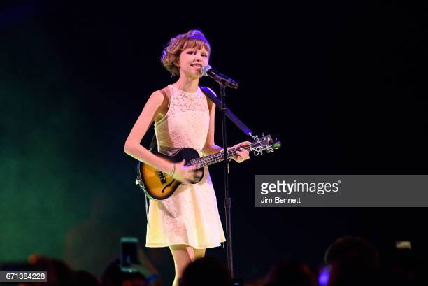 Singer songwriter and winner of America's Got Talent Grace VanderWall performs live during WE Day at KeyArena on April 21 2017 in Seattle Washington