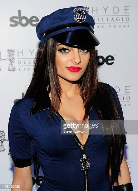 Singer songwriter Bebe Rexha arrives to host 'Hyde in the Dark Halloween' at Hyde Bellagio at the Bellagio on October 31 2014 in Las Vegas Nevada