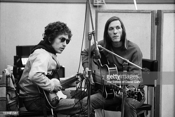 Singer songwriter Bob Dylan and Texas musician Doug Sahm recording Doug Sahm's 1973 album 'Doug Sahm and Band' in the studios of Atlantic Records on...