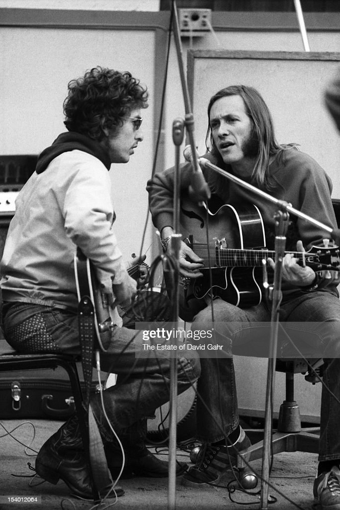 Singer songwriter Bob Dylan and Texas musician Doug Sahm recording Doug Sahm's 1973 album, 'Doug Sahm and Band' in the studios of Atlantic Records on October 9, 1972 in New York City, New York.
