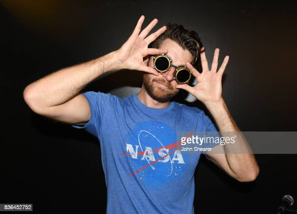 Singer/ songwriter Brett Eldredge poses after performing for SiriusXM's The Highway live broadcast during the solar eclipse at Warner Music Nashville...