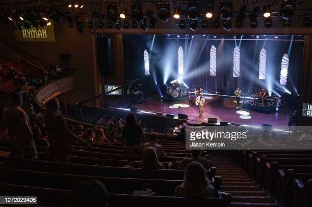 Singer & songwriter Brett Young performs to a social distanced audience with face masks required at the Ryman Auditorium on September 11, 2020 in...