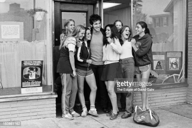 Singer songwriter Bruce Springsteen is greeted by enthusiastic fans in October 1979 in Red Bank New Jersey