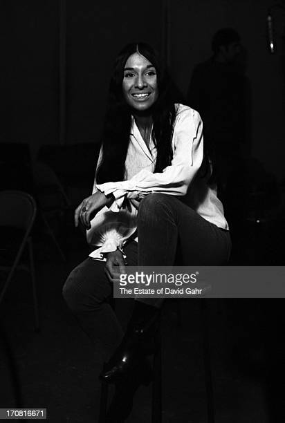 Singer songwriter Buffy SainteMarie poses for a portrait on March 2 1966 during a recording session in the studios of Vanguard Records in New York...