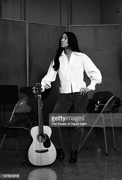 Singer songwriter Buffy SainteMarie recording in the studios of Vanguard Records on March 2 1966 in New York City New York