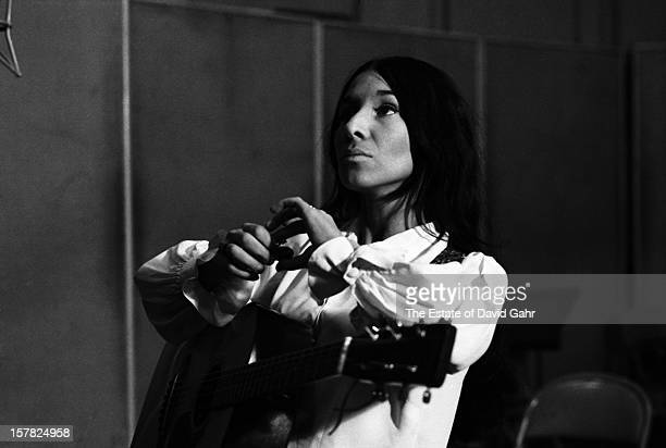 Singer songwriter Buffy SainteMarie recording on March 2 1966 in the studios of Vanguard Records in New York City New York