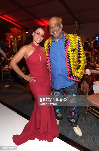 Singer songwriter Elle Varner and CoFounder RUSH Philanthropic Arts Foundation Danny Simmons attend 'Midnight At The Oasis' Annual Art For Life...