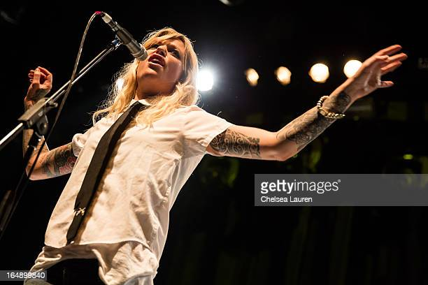 Singer / songwriter Gin Wigmore performs at the Vans Warped Tour press conference and kickoff party at Club Nokia on March 28 2013 in Los Angeles...