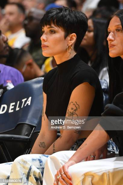 Singer Songwriter Halsey attends the game between the Cleveland Cavaliers and the Los Angeles Lakers on January 13 2020 at STAPLES Center in Los...