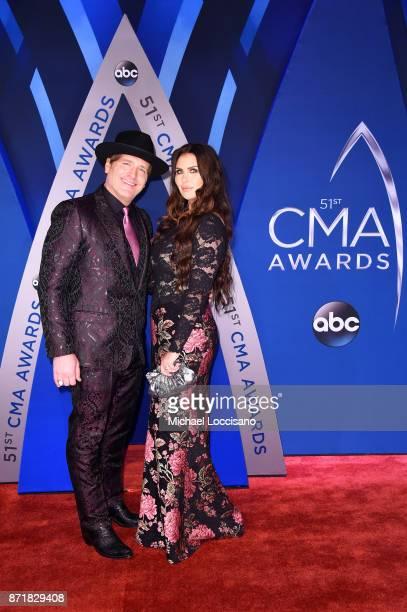 Singer songwriter Jerrod Niemann and Morgan Petek Niemann attend the 51st annual CMA Awards at the Bridgestone Arena on November 8 2017 in Nashville...