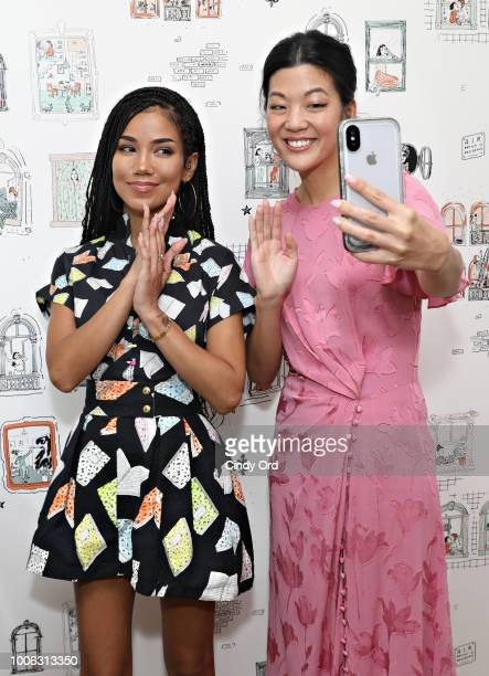 Singer/ songwriter Jhene Aiko and Allure Editor in Chief Michelle Lee pose for a photo at the Jhene Aiko Trip Film 2Fish book signing on July 26 2018...