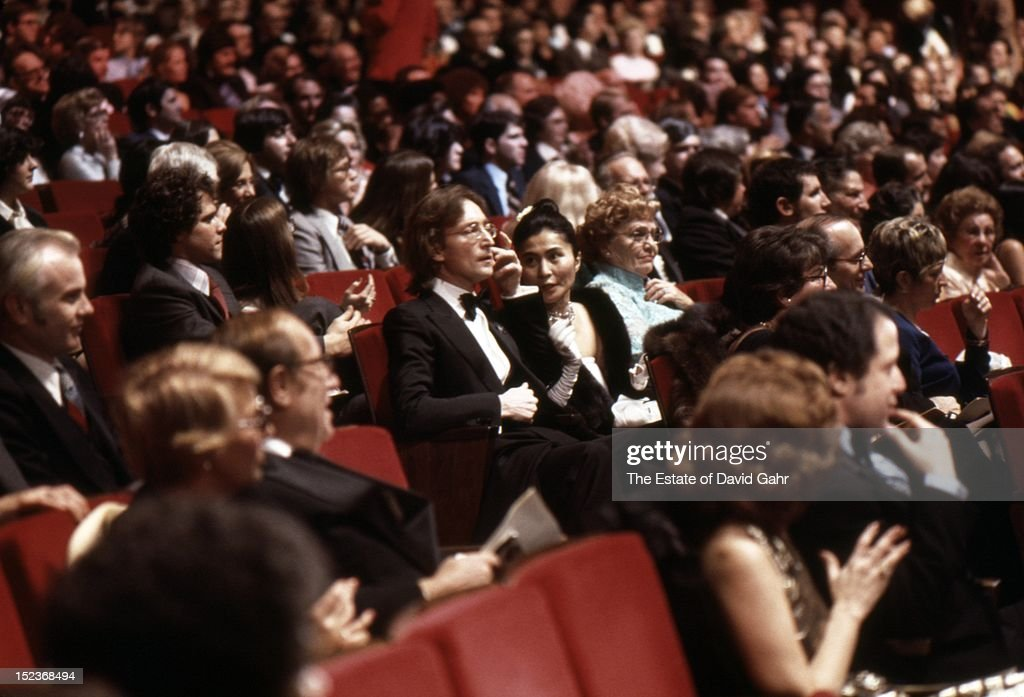 Singer songwriter John Lennon and artist and singer Yoko Ono attend an inaugural event for President-elect Jimmy Carter on January 19, 1977 at the Kennedy Center in Washington D.C.