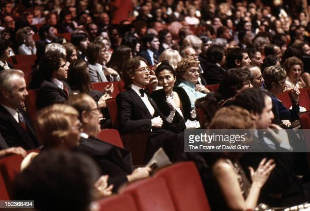 Singer songwriter John Lennon and artist and singer Yoko Ono attend an inaugural event for Presidentelect Jimmy Carter on January 19 1977 at the...