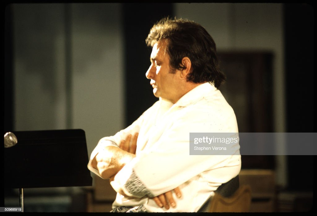 Singer songwriter Johnny Cash sits with his arms folded across his chest while asleep in a studio chair while in the process of his next album for Columbia Records on June 1, 1972 in Nashville, Tennessee.