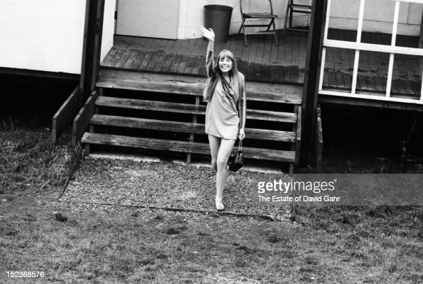 Singer songwriter Joni Mitchell arrives backstage at the Newport Folk Festival in July 1967 in Newport Rhode Island