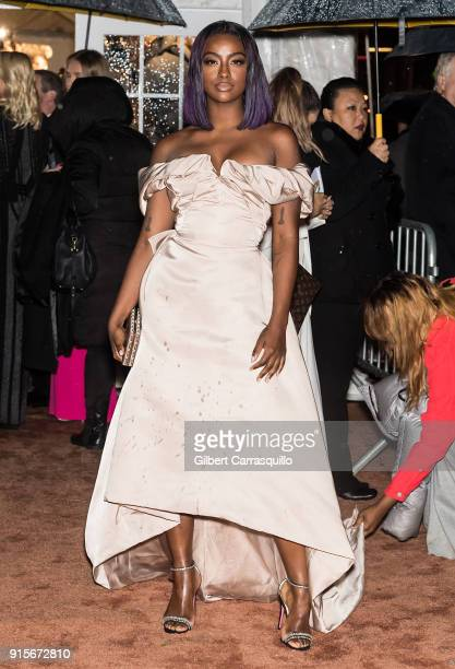 Singer songwriter Justine Skye is seen arriving to the 2018 amfAR Gala New York at Cipriani Wall Street on February 7 2018 in New York City