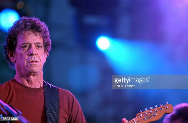 Singer songwriter Lou Reed performs at the Music Midtown festival June 10 2005 in Atlanta Georgia The three day festival features national musical...