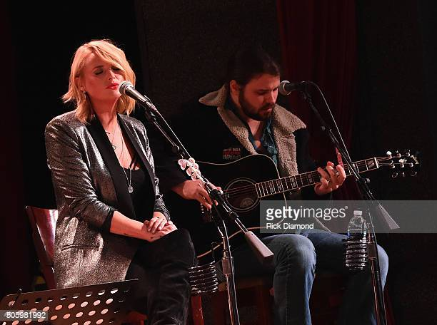 Singer songwriter Miranda Lambert and Brent Cobb perform onstage during Roadside Bars and Pink Guitars Unplugged at City Winery Nashville on January...