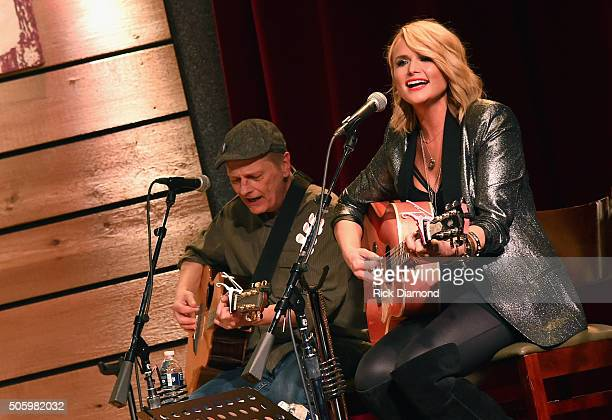 Singer songwriter Miranda Lambert and guitarist Scotty Wray perform onstage during Roadside Bars and Pink Guitars Unplugged at City Winery Nashville...