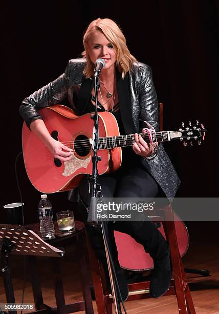 Singer songwriter Miranda Lambert performs onstage during Roadside Bars and Pink Guitars Unplugged at City Winery Nashville on January 20 2016 in...