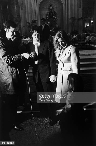 Singer songwriter Paul McCartney and his new wife Linda nee Eastman are interviewed at the Ritz Hotel London after their civil wedding ceremony 12th...