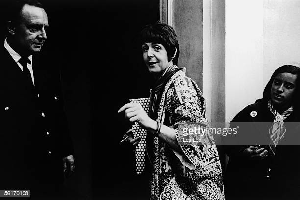 Singer songwriter Paul McCartney arriving at EMI studios Abbey Road for a rehearsal with the Beatles during the recording of Revolver 22nd June 1966