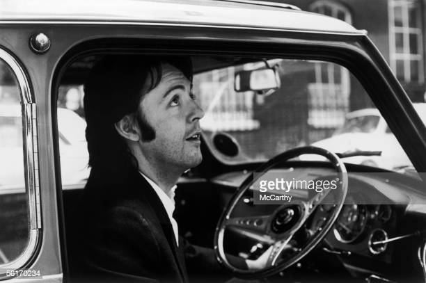Singer songwriter Paul McCartney leaving the Apple headquarters in Savile Row London 19th April 1969