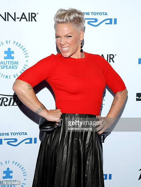 Singer Songwriter Pnk attends the Autism Speaks Celebrity Chef Gala at The Barker Hanger on October 8 2015 in Santa Monica California