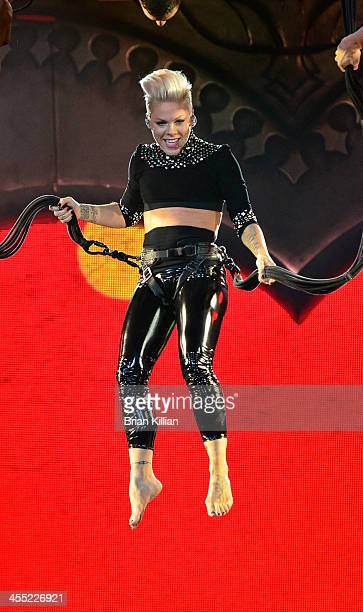 Singer / songwriter P!nk peforms at Prudential Center on December 11, 2013 in Newark, New Jersey.