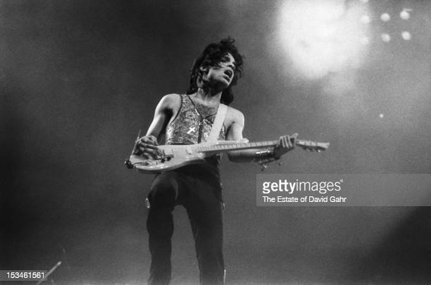 Singer songwriter Prince performs at Madison Square Garden on October 2 1988 in New York City New York