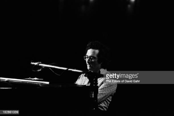 Singer songwriter Randy Newman performs in February 1973 for ABCTV's In Concert series filmed at the Bananafish Theater in Brooklyn New York