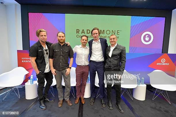 Singer songwriter Ryan Tedder of OneRepublic Chris Milk Hal Kirkland Bart Saunt and Guido Voltolina pose onstage during the VR IS KIDS PLAY Lunch...