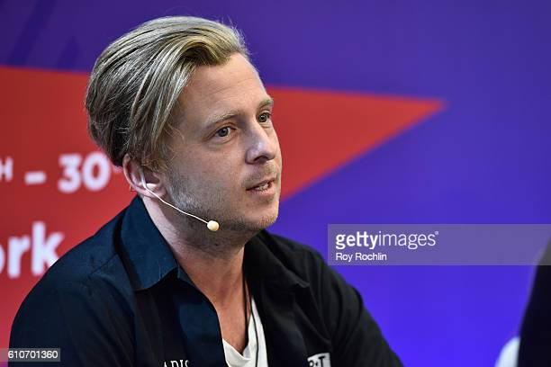 Singer songwriter Ryan Tedder of OneRepublic speaks onstage during the VR IS KIDS PLAY Lunch Exclusive Screening Panel at Nasdaq MarketSite during...