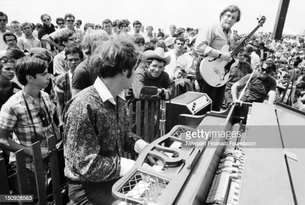 Singer songwriter Tim Hardin performs at the Newport Folk Festival in July 1966 in Newport Rhode Island Sharing the stage folk singer Ramblin' Jack...
